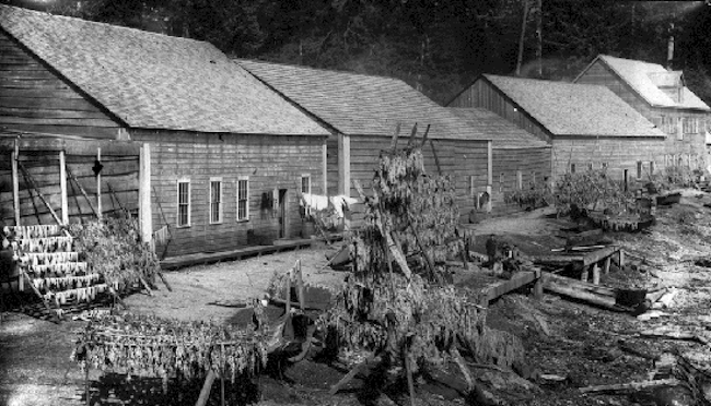 First Nation Houses and Herring Racks